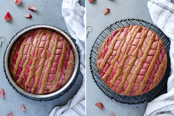 rhubarb cake cooling in pan and out of pan on cooling rack