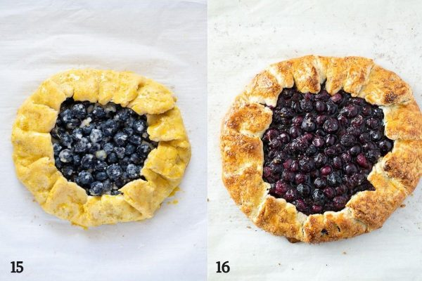 Blueberry galette with egg wash before and after baking