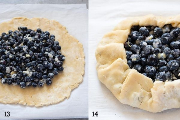 Blueberry galette before and after crust is folded over