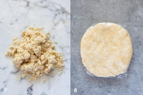 food processor pie crust before and after shaping into disc