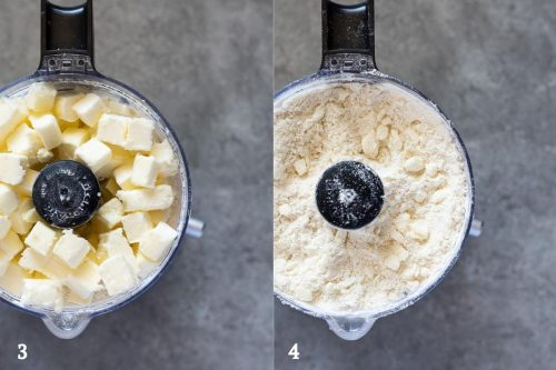 butter before and after mixing for food processor pie crust