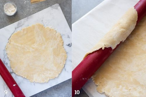 food processor pie crust rolled out and wrapped on rolling pin