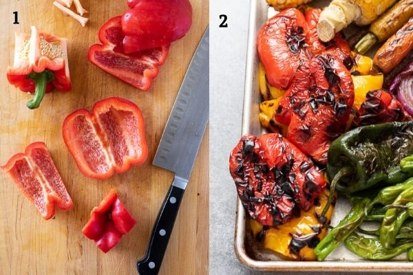 bell pepper before and after grilling collage