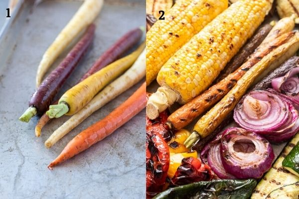 Collage showing carrots before and after grilling