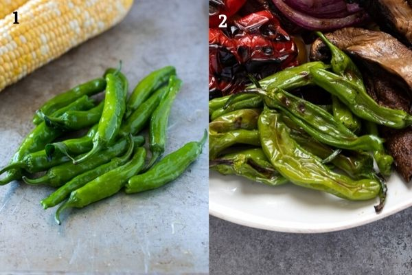Grilled shishito peppers collage before and after grilling
