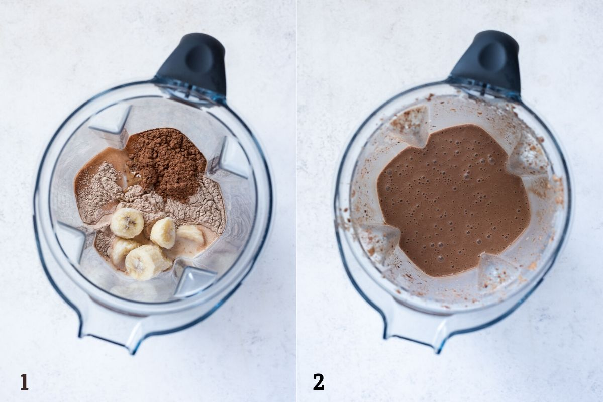 chocolate banana protein smoothie before and after blending