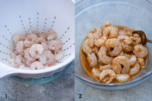 thawed shrimp and marinating shrimp process collage