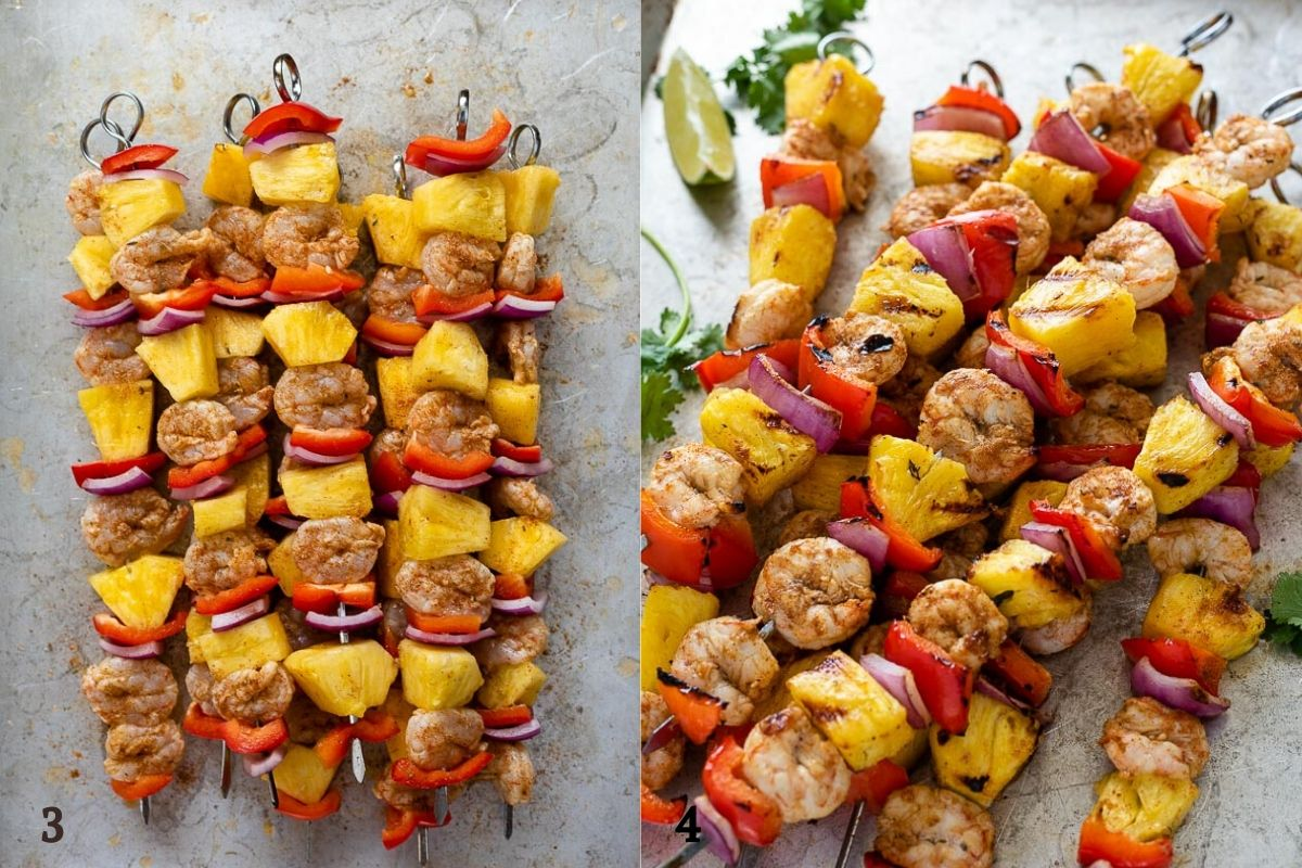 jerk pineapple shrimp skewers before and after grilling collage