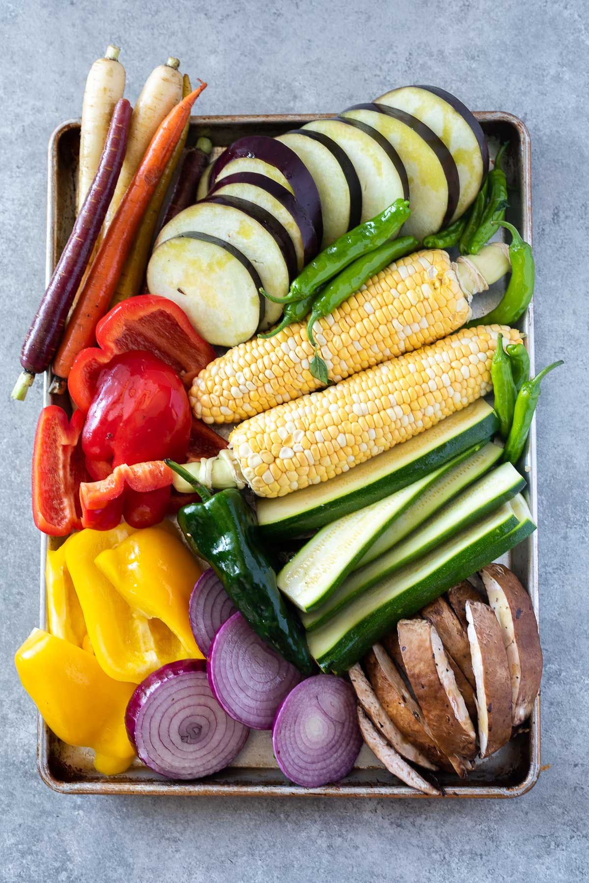 baking sheet with assorted vegetables for grilling