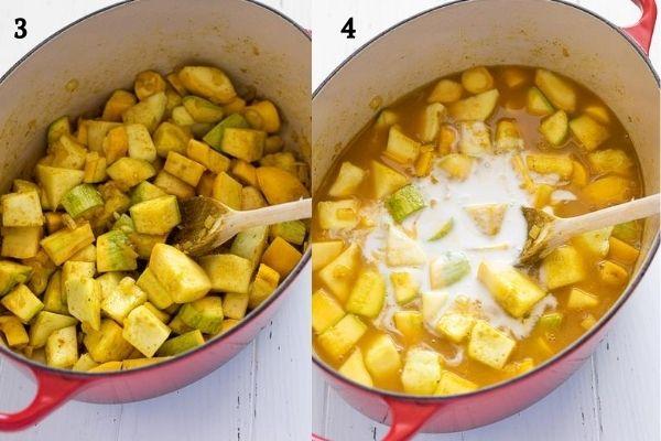 summer squash soup process collage 2