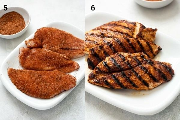 BBQ rubbed chicken breast before and after cooking