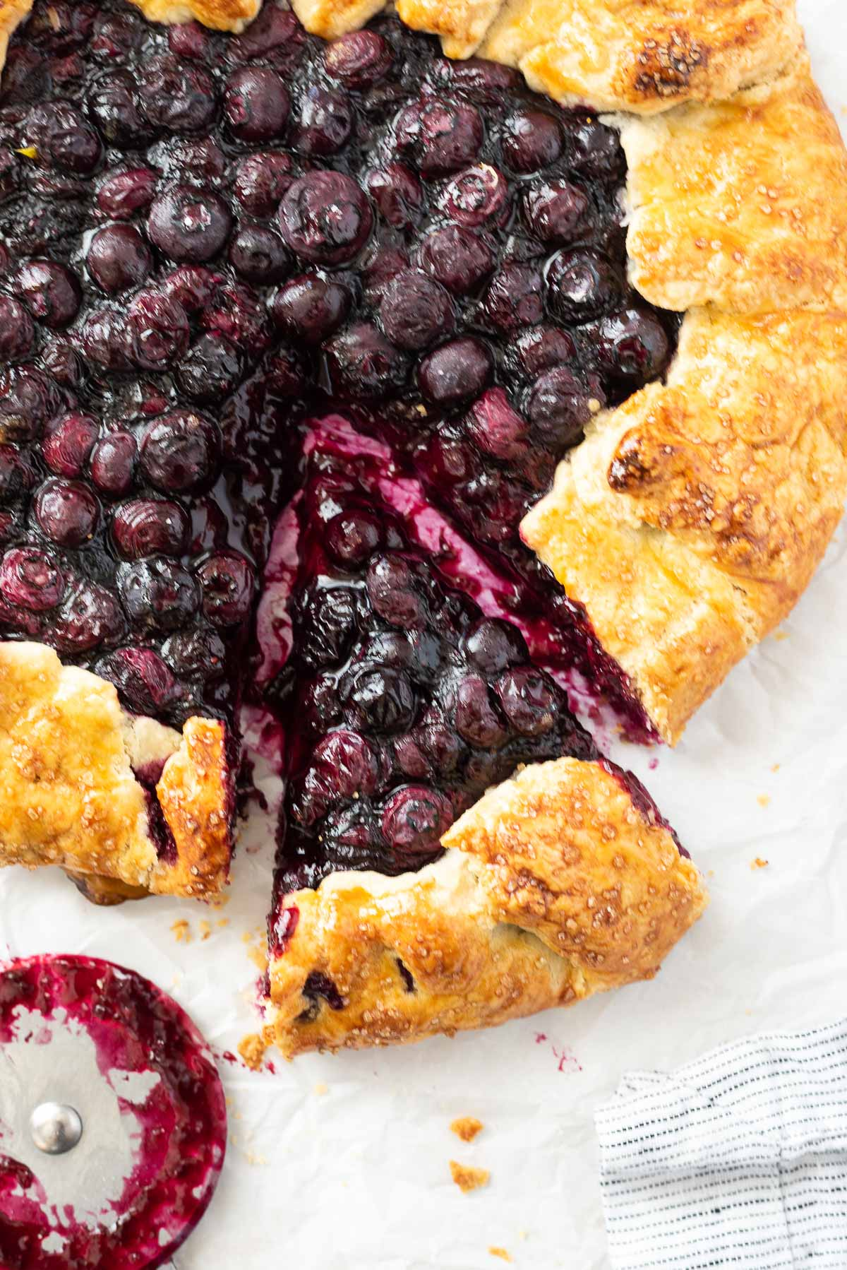 Blueberry galette with slice cut and pulled away
