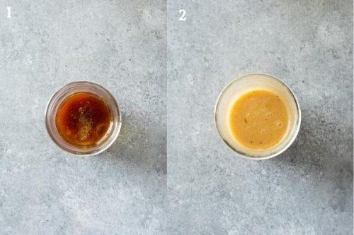 Dijon vinaigrette before and after blending