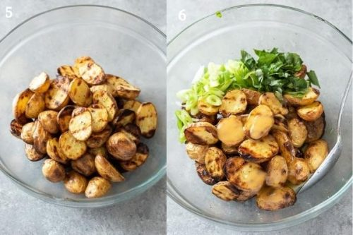 Grilled potato salad before and after adding ingredients