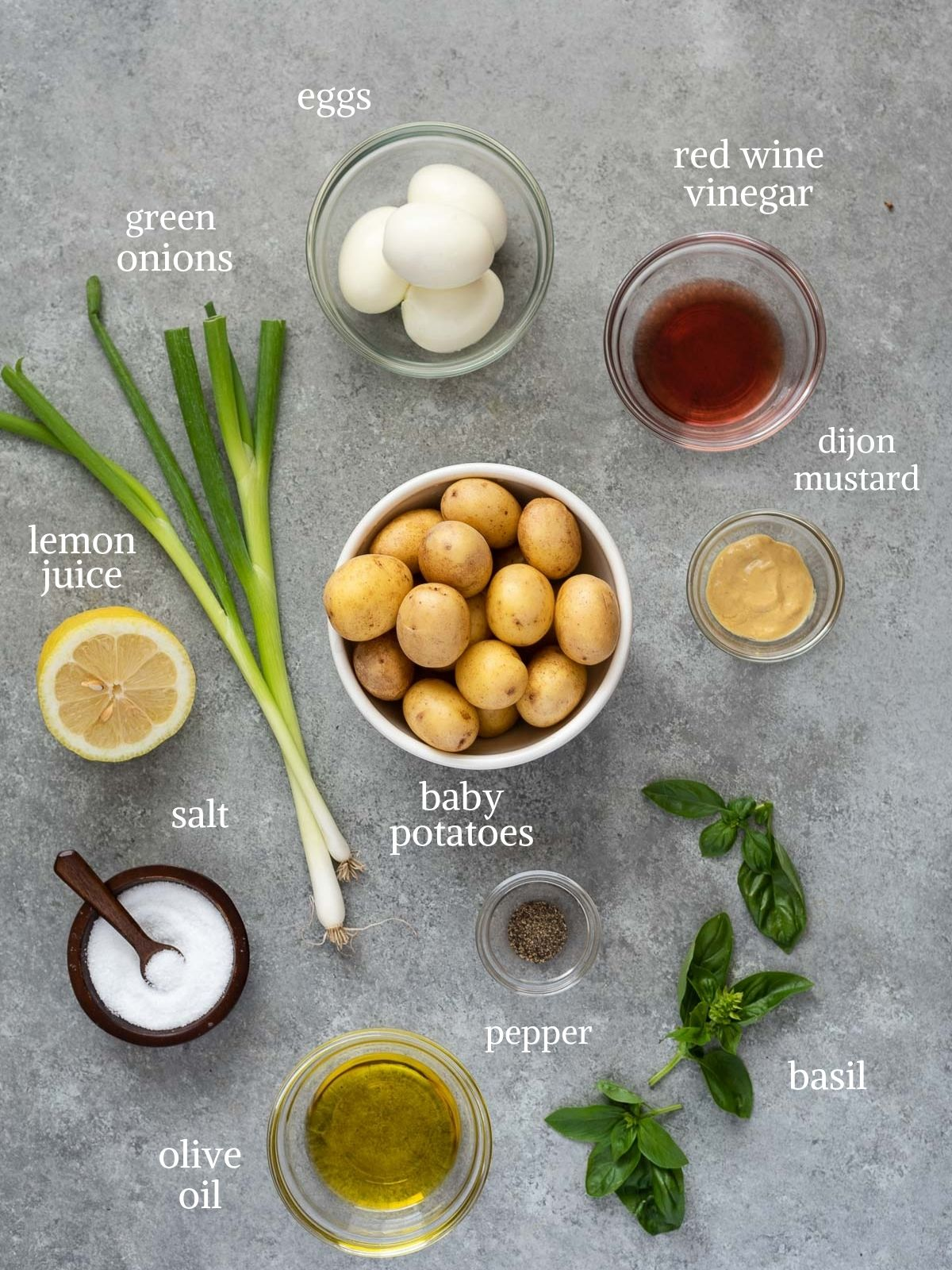 Grilled potato salad and dijon vinaigrette ingredients