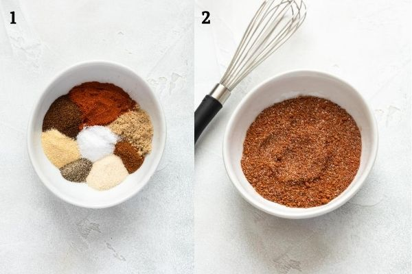 BBQ chicken rub before and after blending