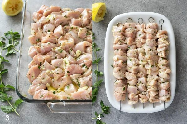 Greek chicken souvlaki marinating and skewered collage