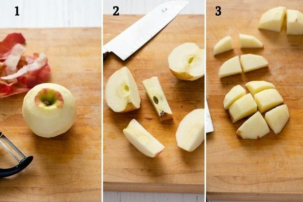 How to peel and chop an apple collage