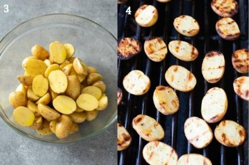 Potatoes before and after grilling
