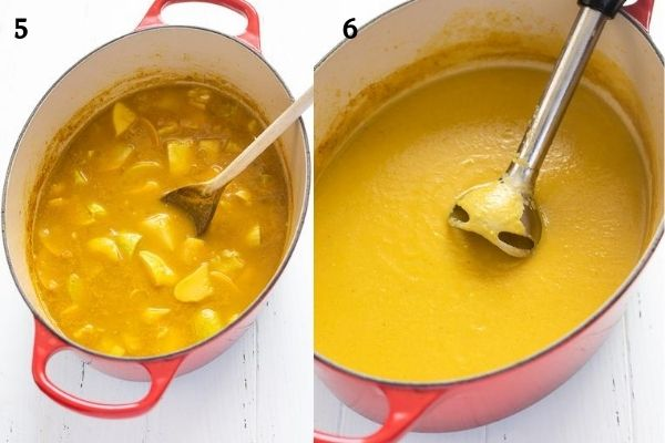 summer squash soup before and after pureeing