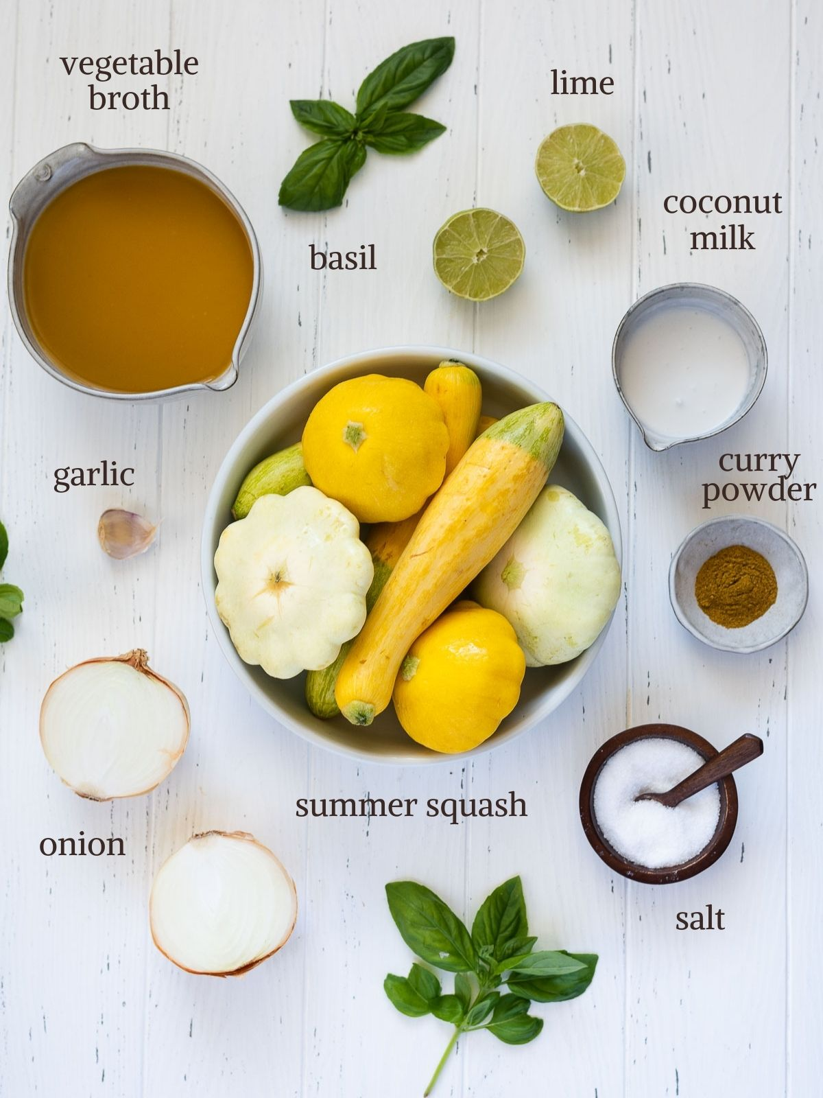 Ingredients for creamy summer squash soup