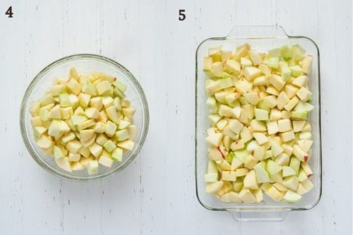 How to make apple crisp filling process collage