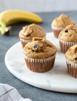 healthy peanut butter bananas on marble board