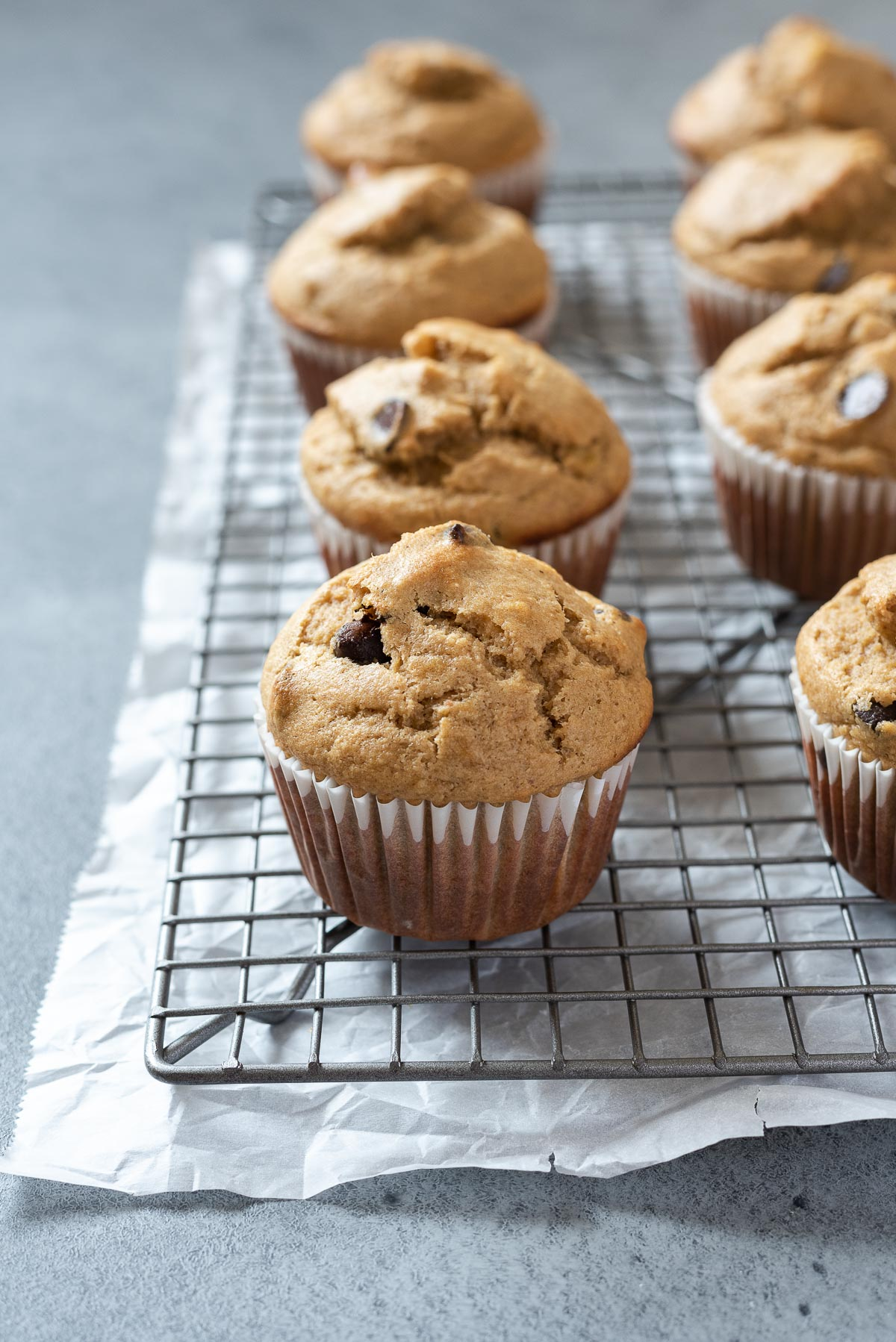 Peanut butter banana muffins on wire rack