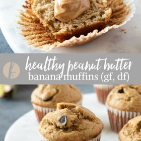 peanut butter banana muffins collage