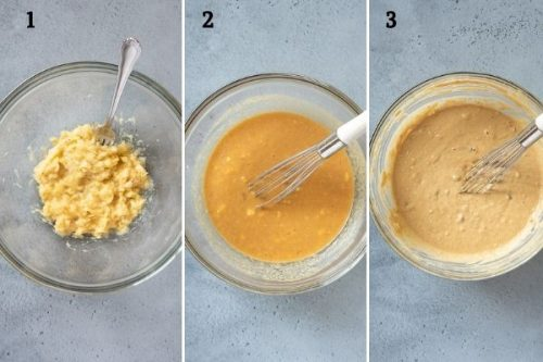 How to make peanut butter banana muffins collage 1