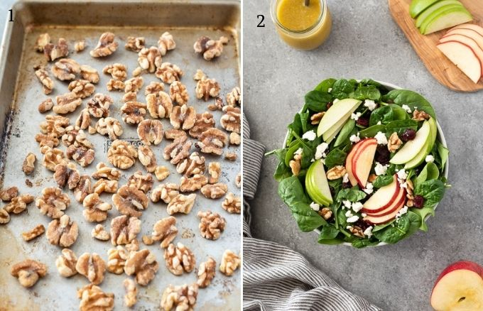 Spinach apple salad process collage