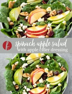 Spinach Apple Salad collage pin