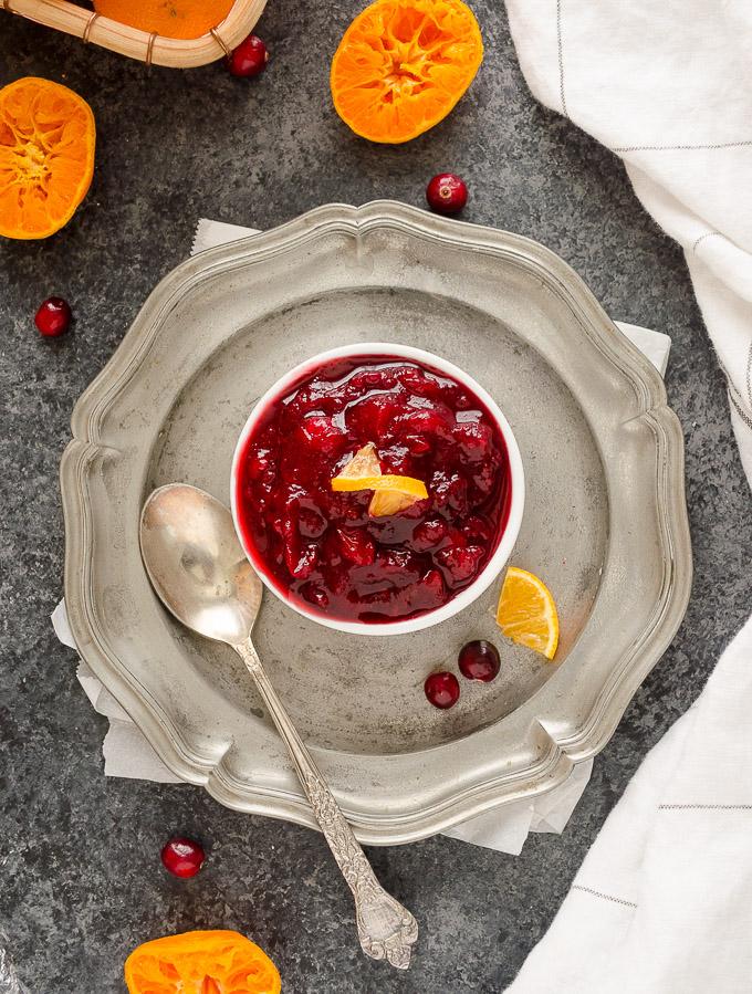 Homemade cranberry sauce with orange juice in a ramekin