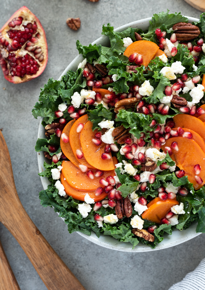 overhead shot of holiday salad in white bowl