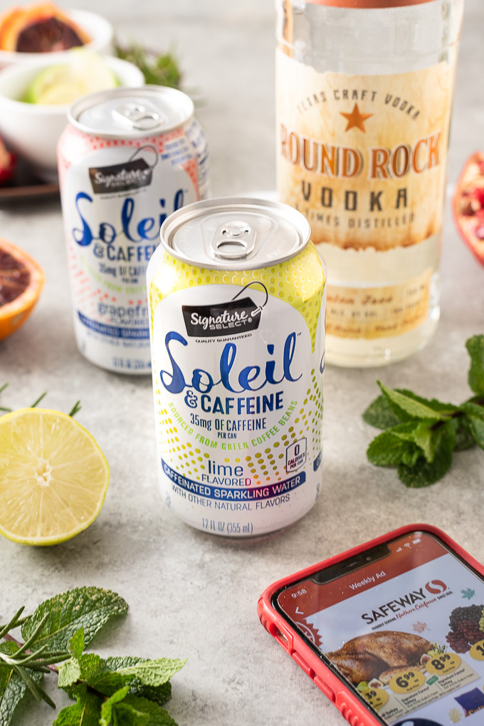 Safeway Signature Select Soleil sparkling water and Round Rock Vodka