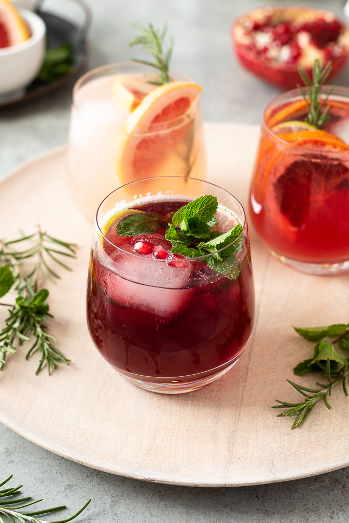 Pomegranate Lime Vodka Spritzer with mint garnish
