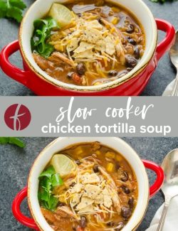 Slow Cooker Chicken Tortilla Soup collage pin