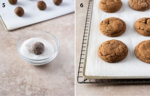 Gingersnap cookie recipe process collage 3