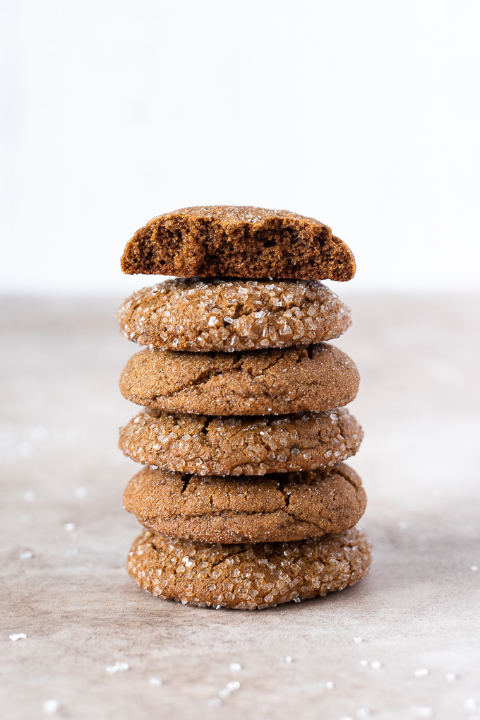 Stack of soft gingersnap cookies
