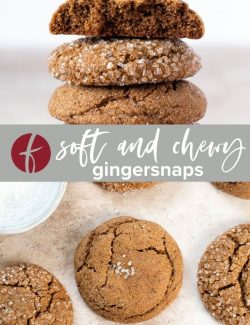 Gingersnap cookie recipe collage pin