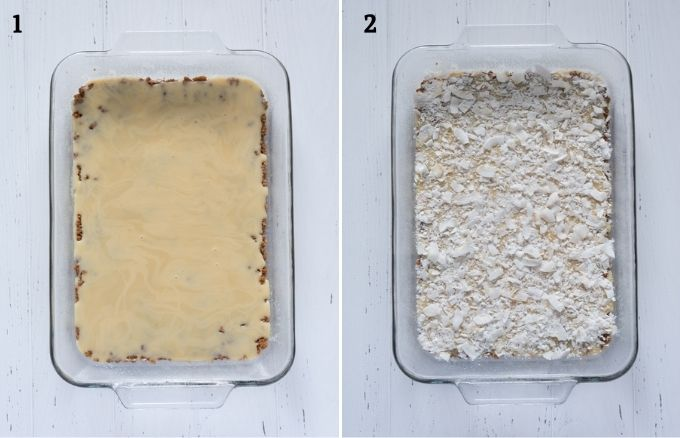 Magic cookie bars process collage 1