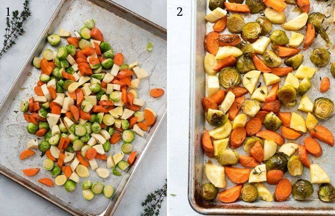 how to make roasted brussels sprouts and carrots collage
