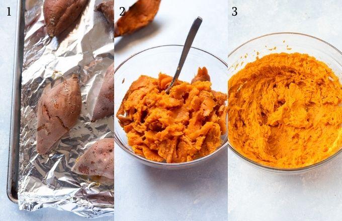 Sweet potato casserole recipe process collage 1