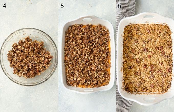Sweet potato casserole recipe process collage 2