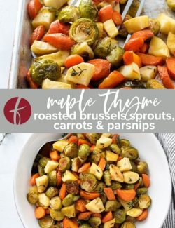 Roasted brussels sprouts and carrots collage