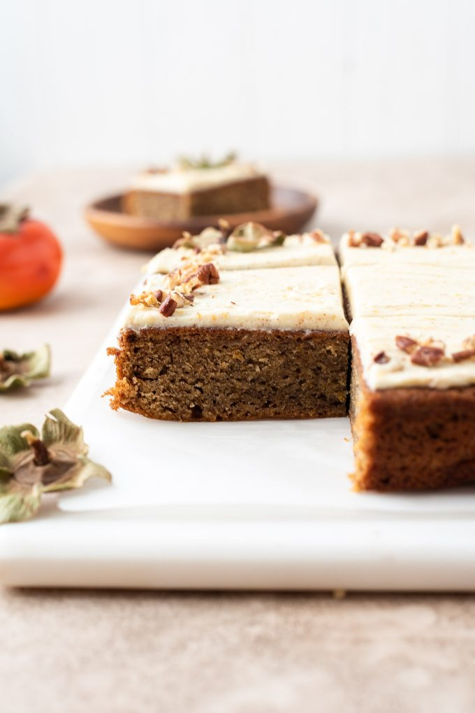 Persimmon cake on a marble board