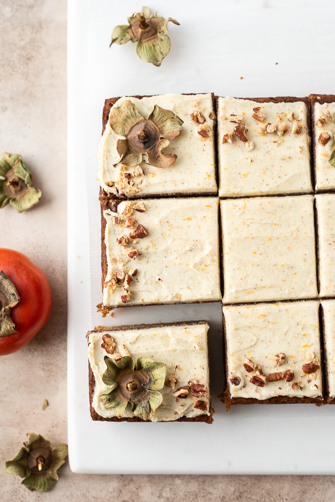 Persimmon cake sliced into squares