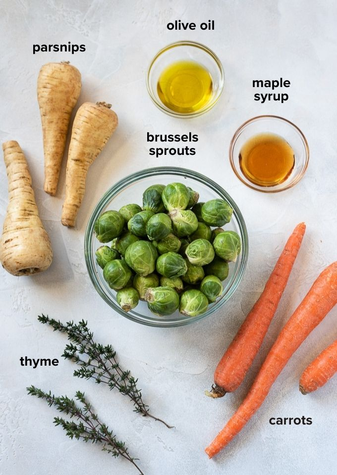 Roasted brussels sprouts and carrots ingredients
