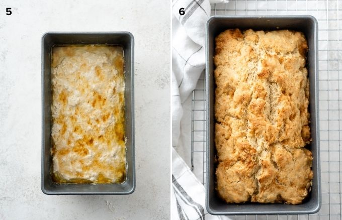 Beer bread before and after baking