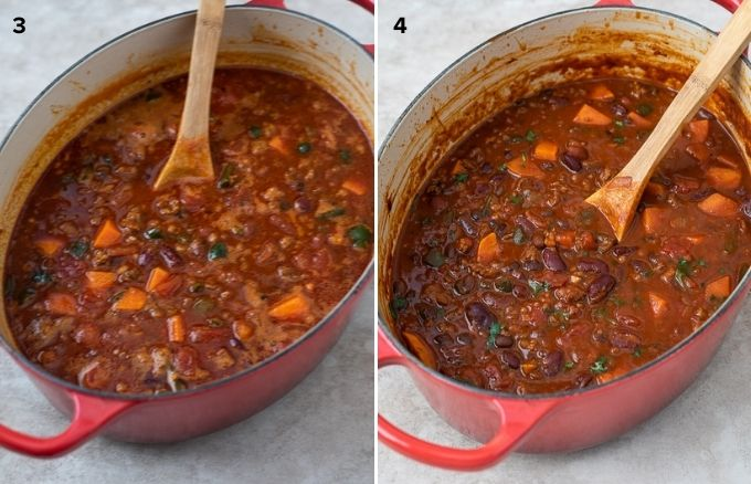 Chorizo chili in dutch oven before and after simmering